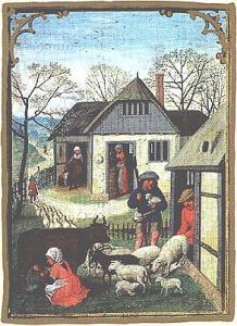 motif animaldairy-scene-from-the-da-costa-hours-flemish-1515