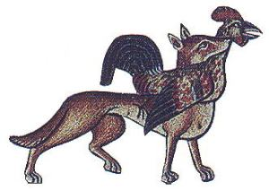 motif animal fox-catching-a-rooster