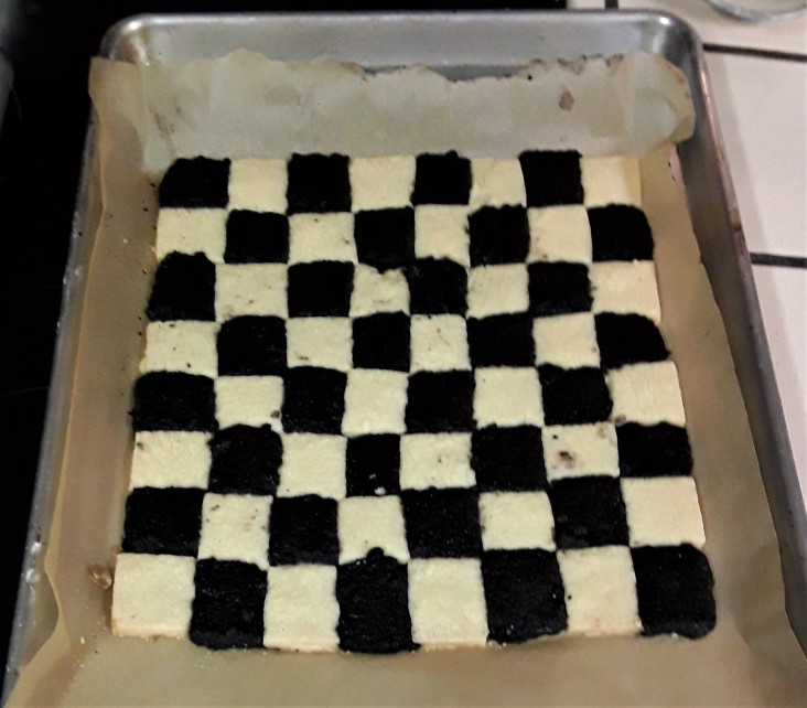 The chess board, ready to bake - Jam