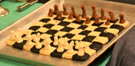 2/23/20 - Chess set - Shortbread cookie board, marzipan pieces